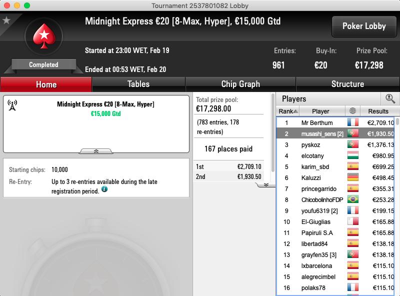 Midnight Express €20 pokerstars