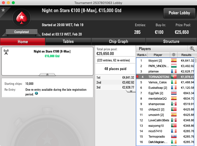 night in stars €100 pokerstars